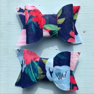 Navy Blue Floral Print Hair Bows